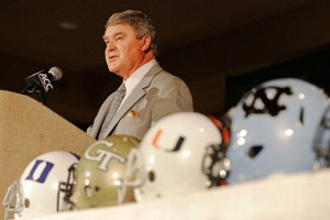 John Swofford Commissioner ACC Football Kickoff 2013 Greensboro Conference Stable Confidence